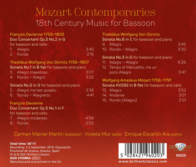 Mozart Contemporaries: 18th Century Music for Bassoon. Carmen Mainer Martín, Enrique Escartín Ara, Violeta Mur (CD)