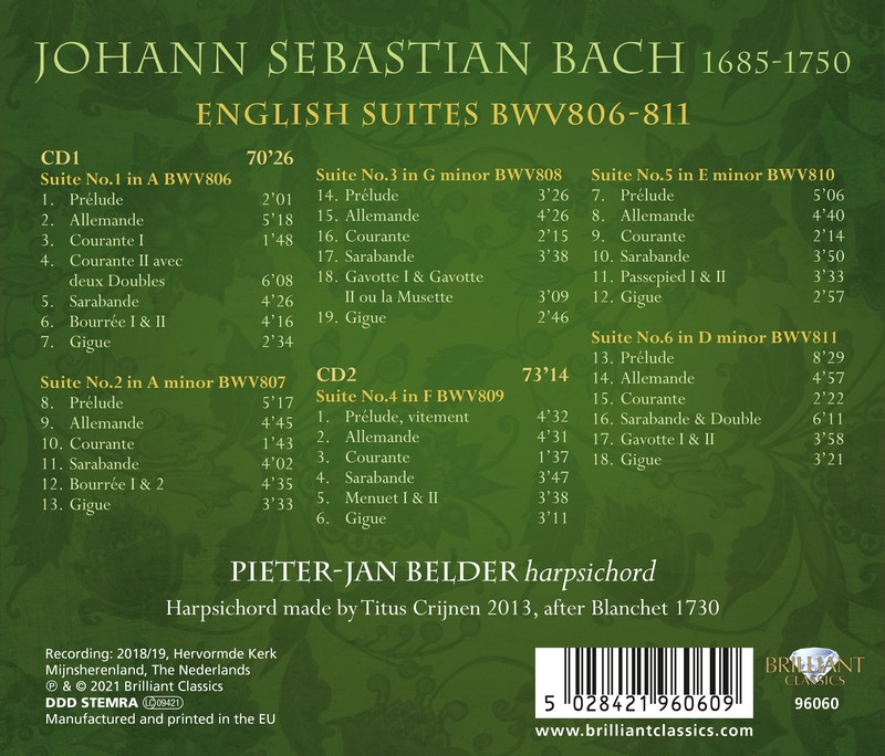 J.S. Bach: English Suites BWV806-811. Pieter-Jan Belder (2CD)