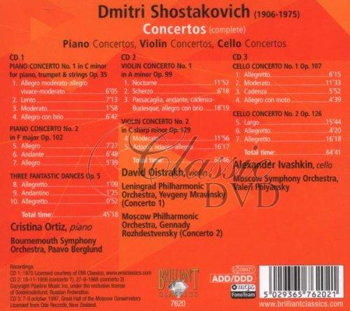 ŠOSTAKOVIČ,D.: Piano, Violin, Cello Concertos (3CD)