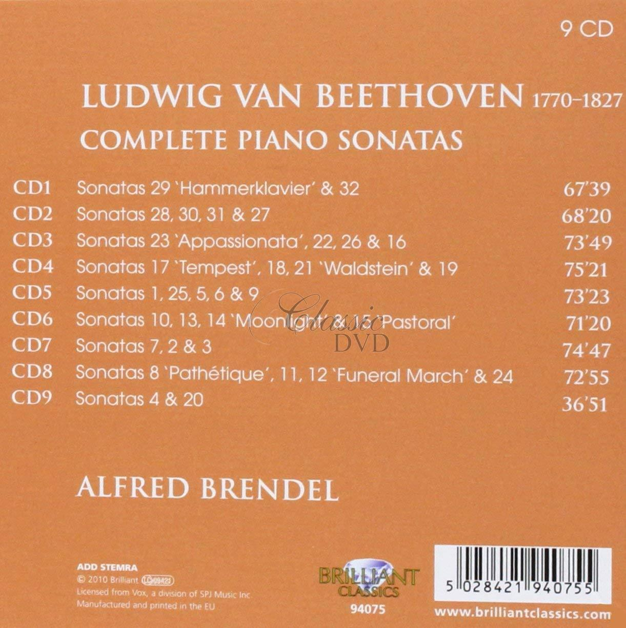 BEETHOVEN,L.V.: Complete Piano Sonatas. Alfred Brendel (9CD)
