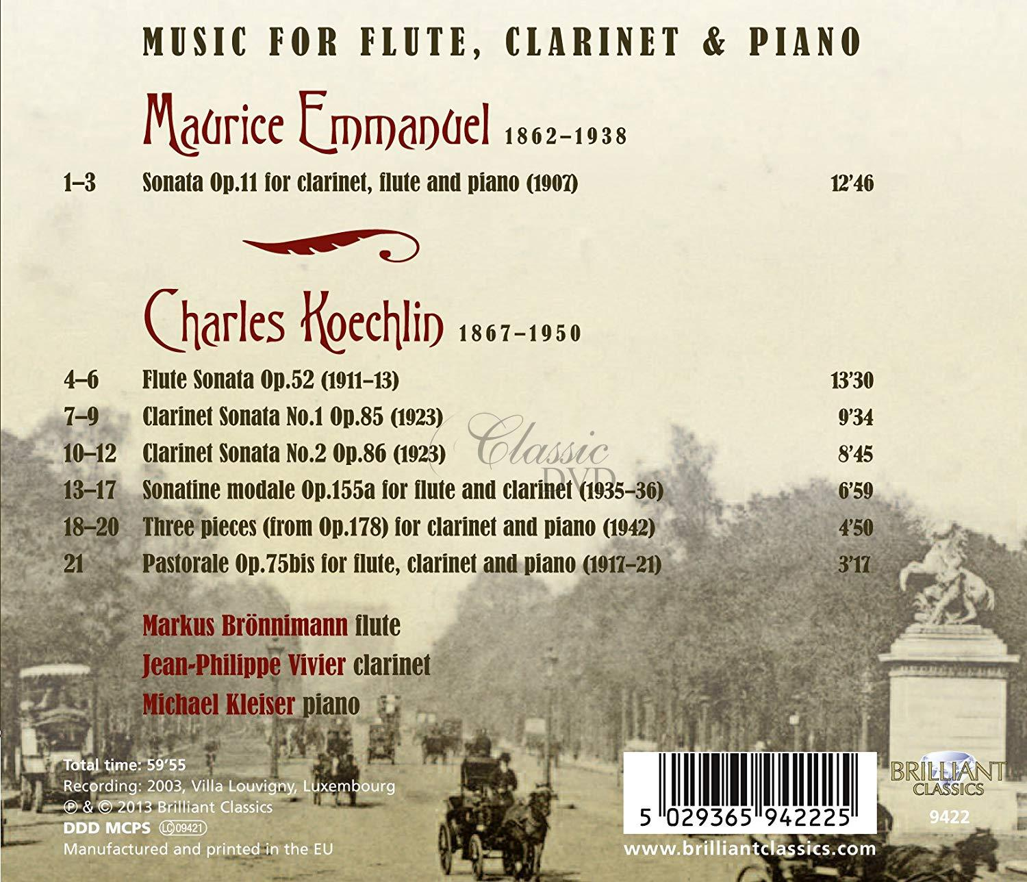 KOECHLIN/EMMANUEL: Music for Flute, Clarinet and Piano; Markus Brünnimann (1CD)