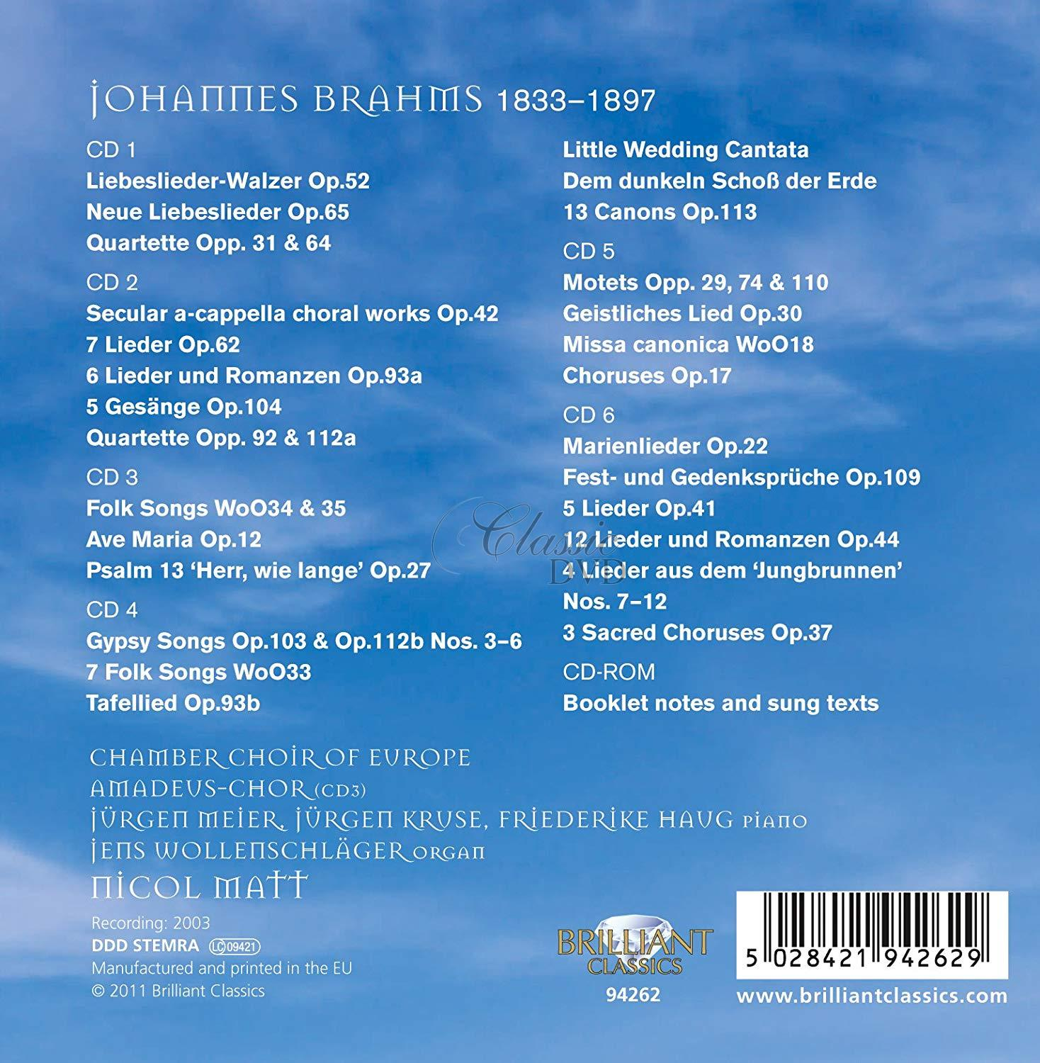 BRAHMS,J.: Choral Works (6CD)