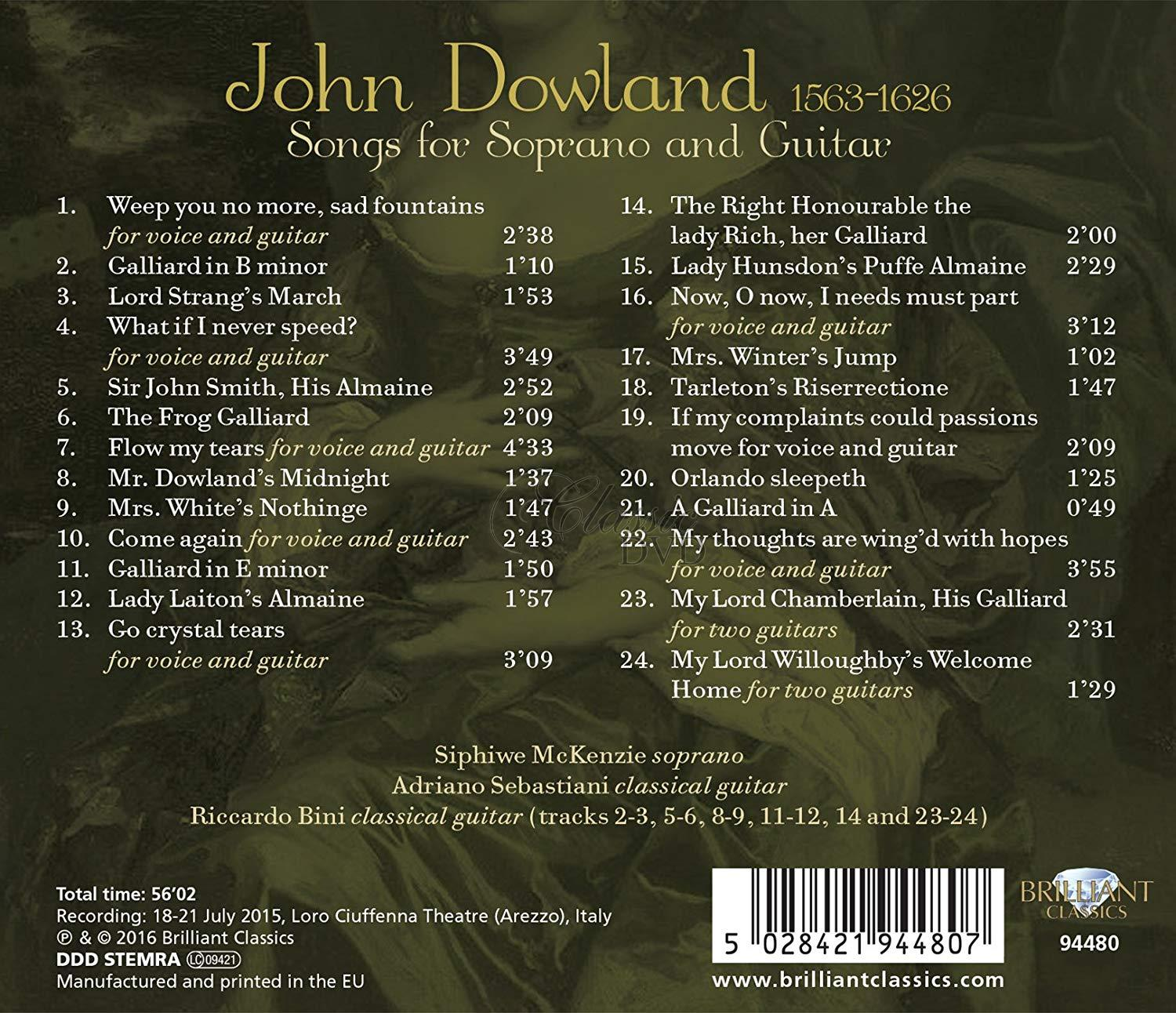 DOWLAND: Songs for Soprano and Guitar; Siphiwe McKenzie, Riccardo Bini, Adriano Sebastiani (CD)
