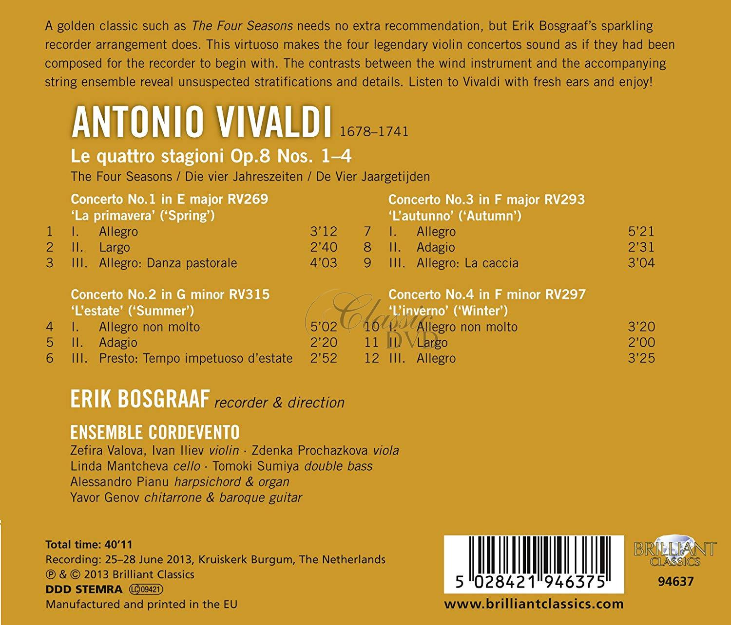VIVALDI: The Four Seasons; Erik Bosgraaf, Ensemble Cordevento (1CD)