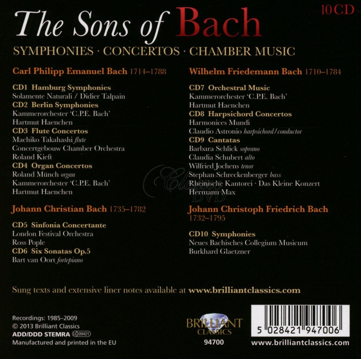 SONS OF BACH Symphonies, Concertos, Chamber Music (10CD)
