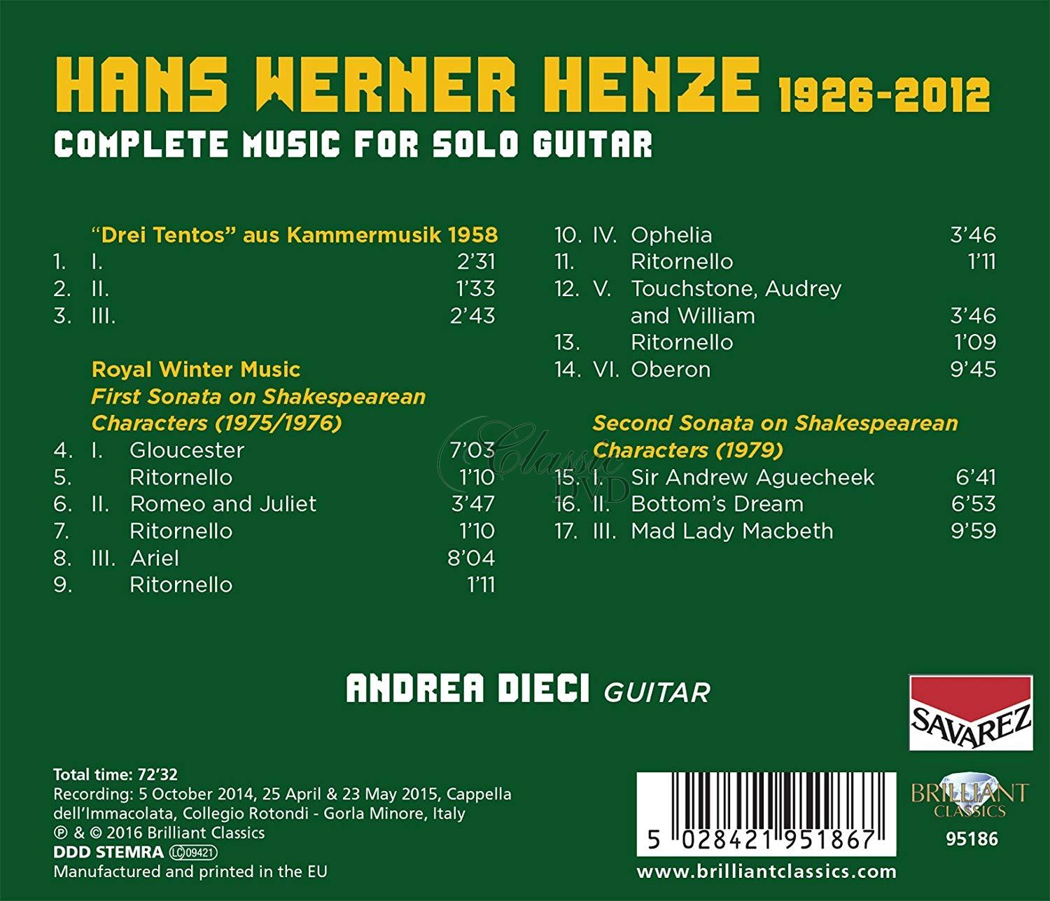 HENZE: Complete Music for Solo Guitar; Andrea Dieci (CD)