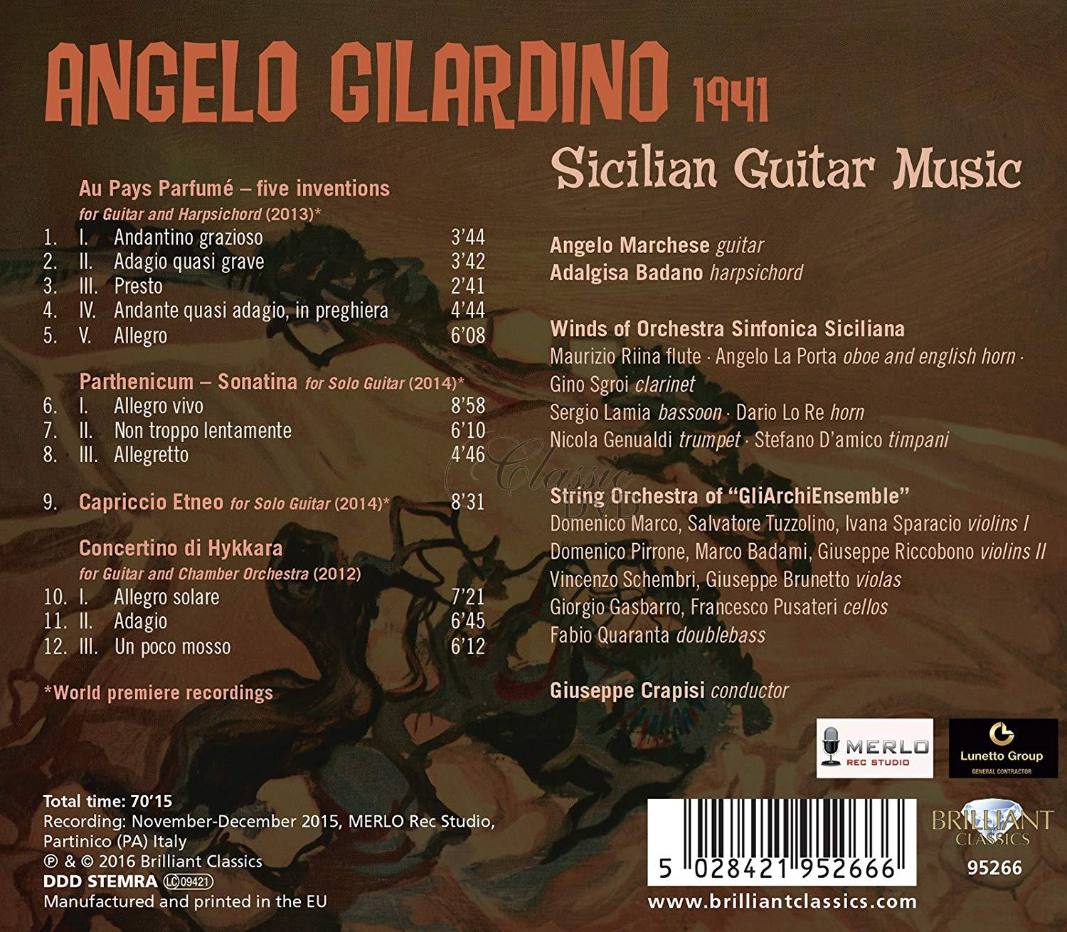 GILARDINO: Sicilian Guitar Music; Angelo Marchese (1CD)