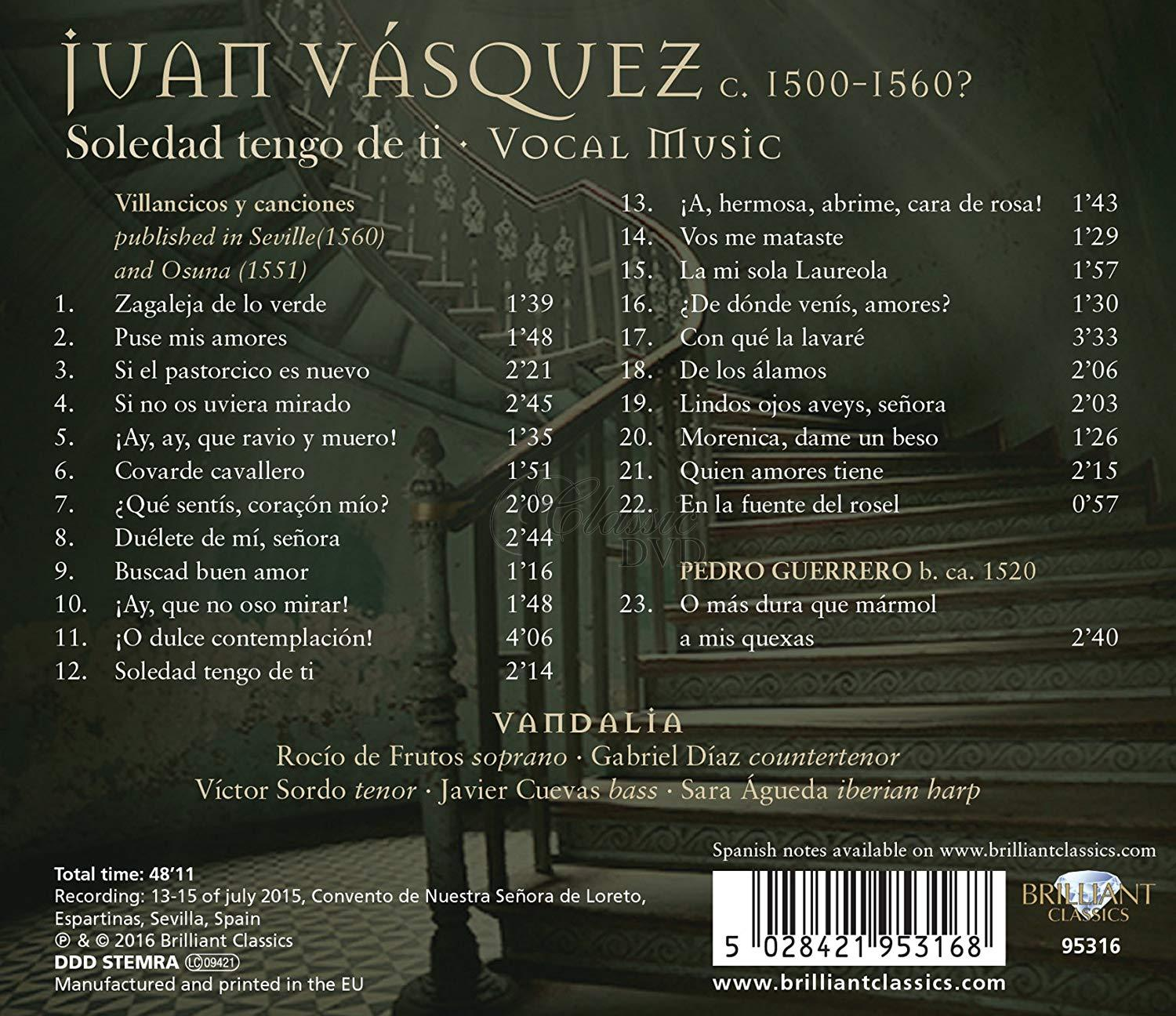 VASQUEZ: Vocal Music; Ensemble Vandalia (CD)