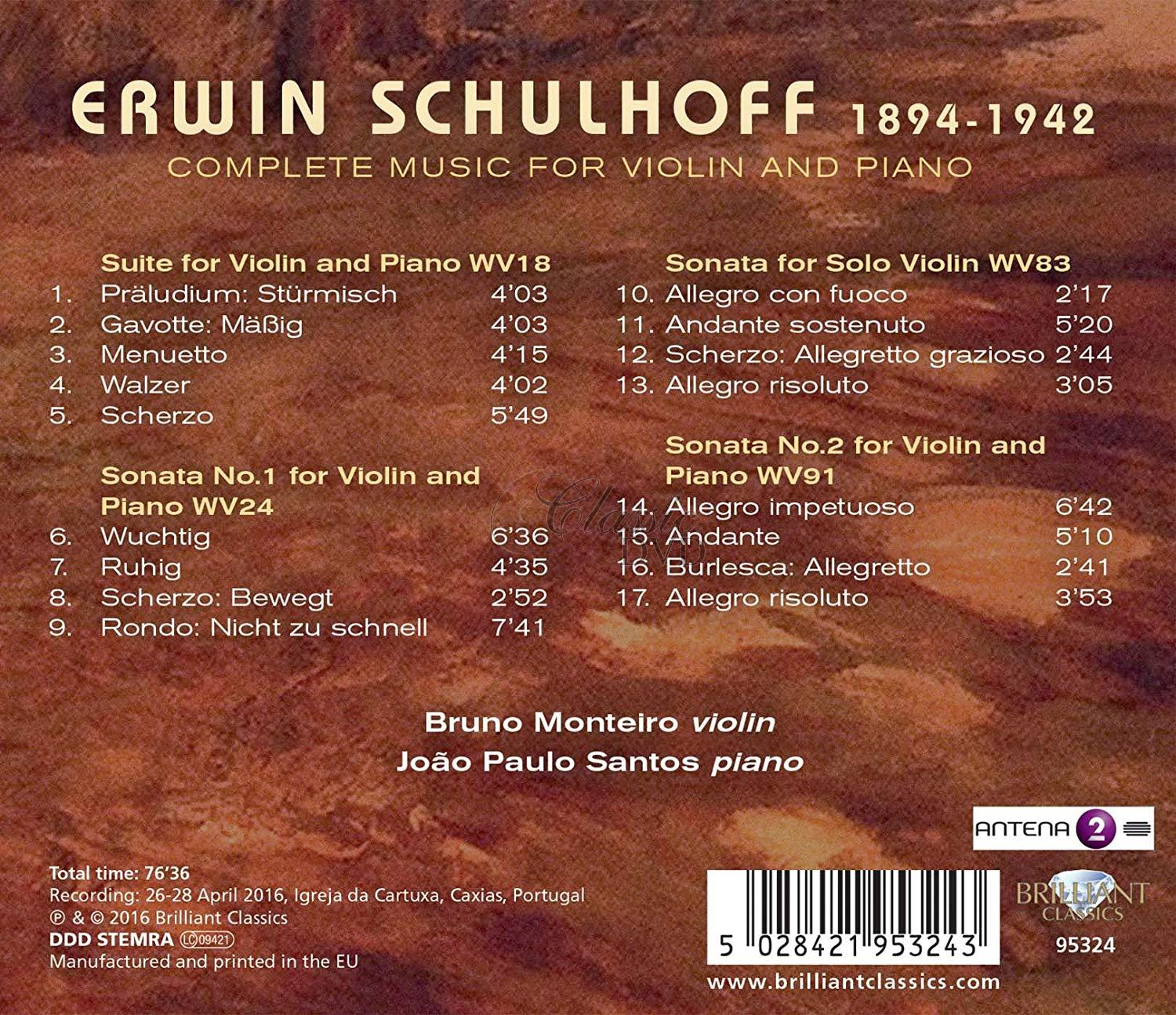 SCHULHOFF: Complete Music for Violin and Piano (CD)
