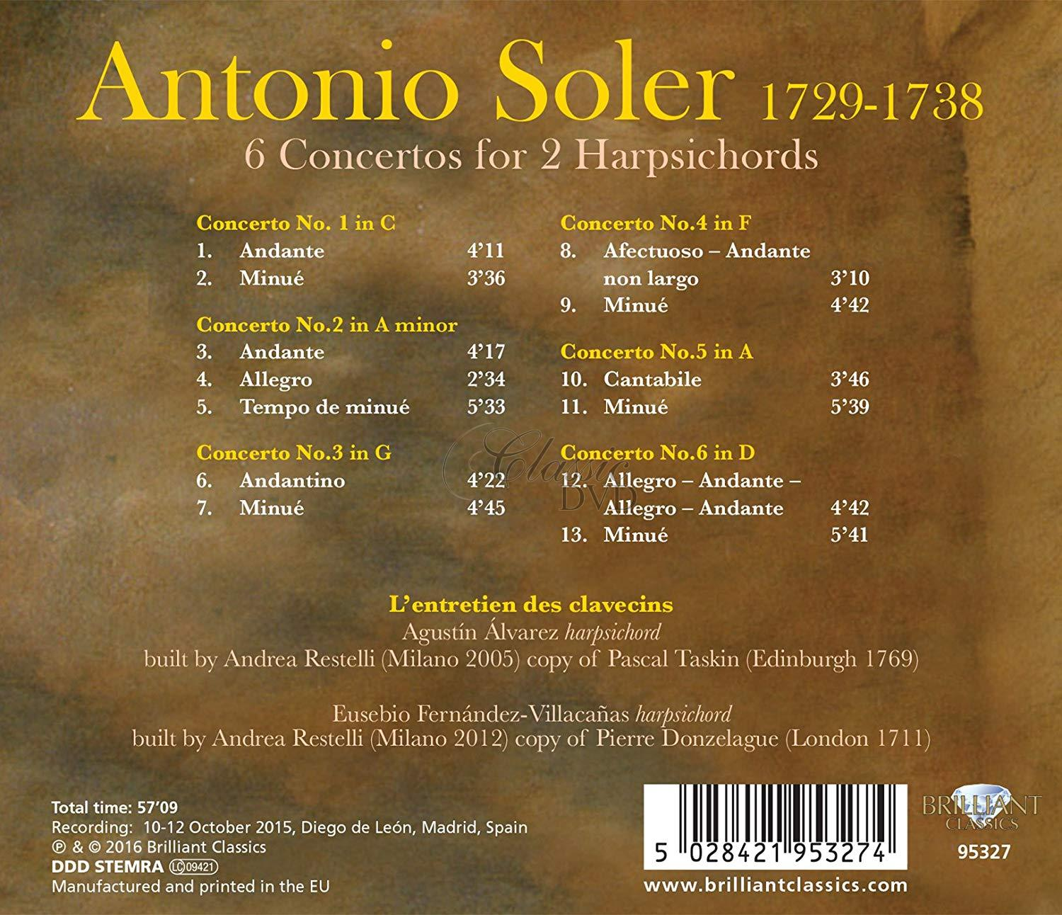 SOLER: 6 Concertos for 2 Harpsichords (CD)