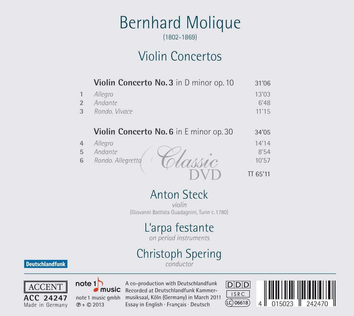 Molique: Violin Concertos Nos. 3 & 6 (CD)