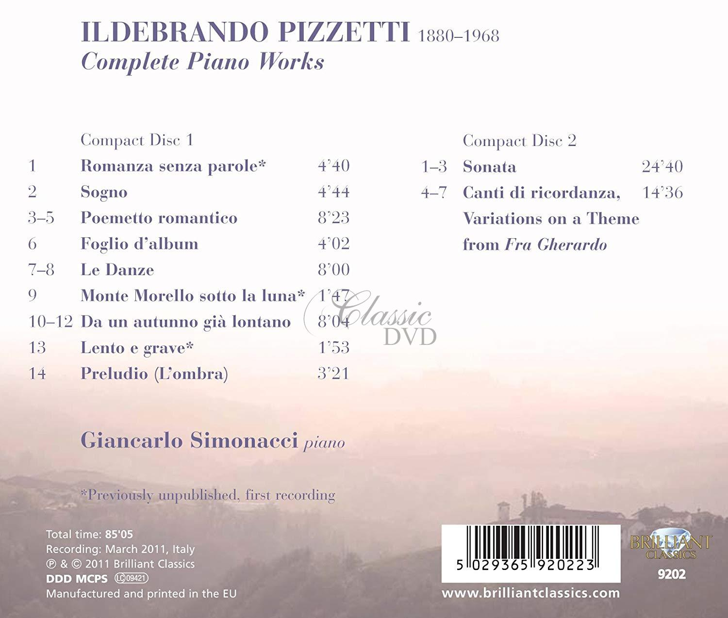 PIZZETTI,I.: Complete Piano Works (2CD)