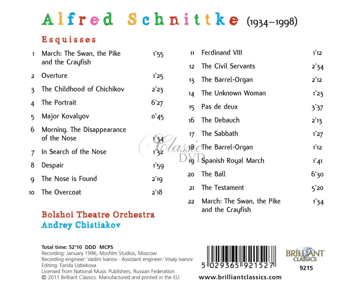 SCHNITTKE,A.: Sketches (CD)