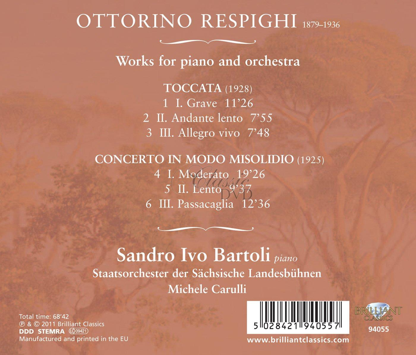 RESPIGHI,O.: Concerto in modo misolidio for piano and orchestra, Toccata (CD)