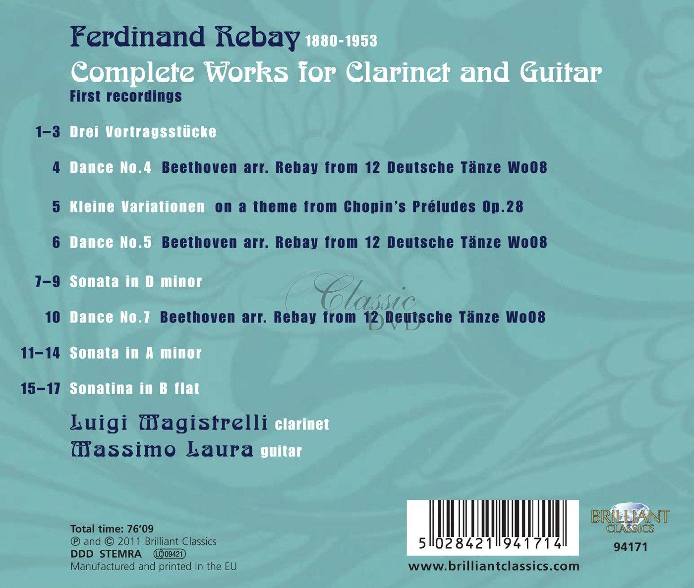 REBAY,F.: Complete Music for Clarinet & Guitar (CD)